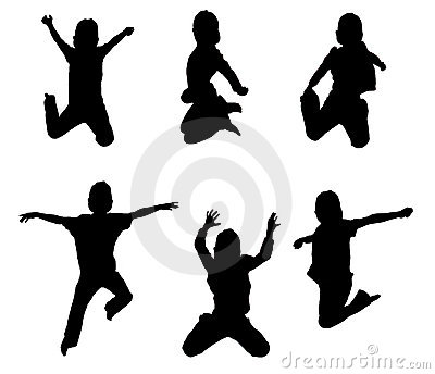 Illustrations of kids jumping