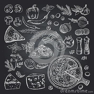 Free Illustrations Of Pizza Ingredients On Black Chalkboard. Pictures Set Of Italian Kitchen Stock Photography - 98836422