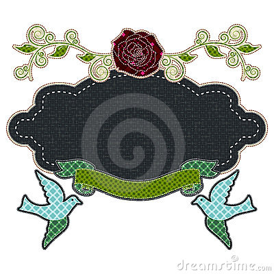 Illustrations patchwork frame love with rose