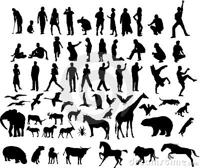 Illustrations of people and animals