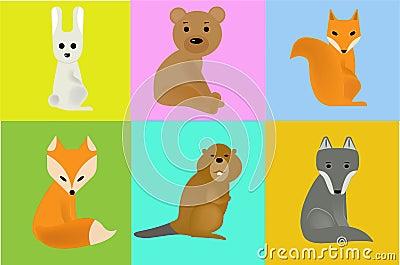 Illustrations wild animals Vector Illustration