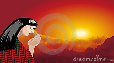 Illustrations of woman praying, at sunset
