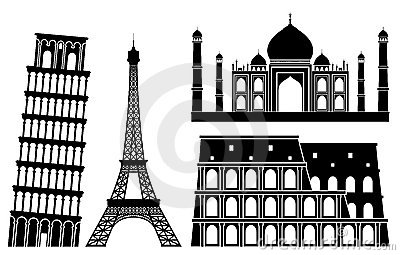 Illustrations of world s famous places (set 1).