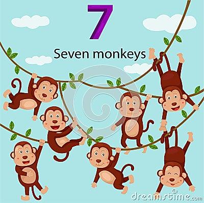 Free Illustrator Of Number Seven Monkeys Royalty Free Stock Photos - 43553148