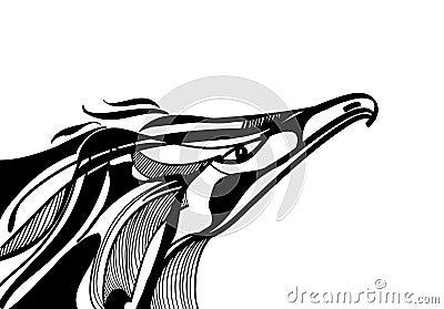 Illustrazione in bianco e nero stilizzata di una testa for Disegni bianco e nero paesaggi