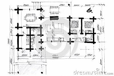 Illustrazione del pastello di un progetto della pianta for Progetti di planimetrie di case di campagna