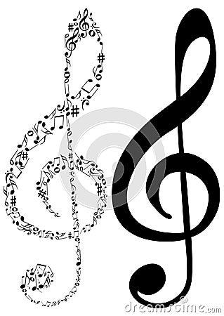 Illustrazione delle note del clef e di musica di G di rimorchio