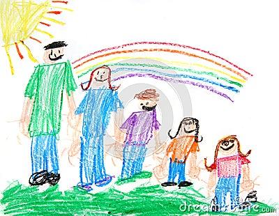 Illustrazione di pastello primitiva dei bambini di una famiglia