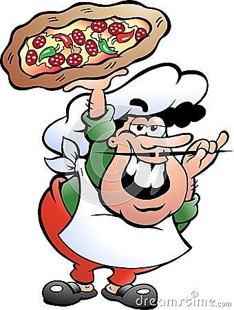 Illustrazione di un panettiere italiano della pizza