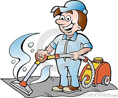 Illustrazione di un pulitore felice del tappeto