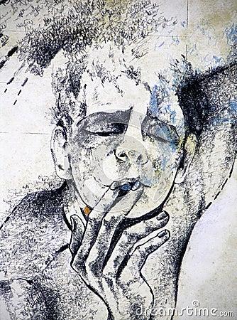 Illustrazione di un uomo che fuma una sigaretta