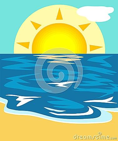 Illustrazione di vista sul mare