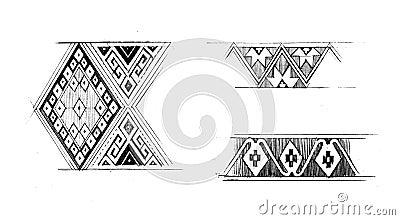 Illustrazione grafica indigena di tiraggio della mano del modello
