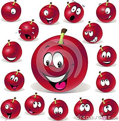 Illustrazione rossa del fumetto della prugna con i molti espressione