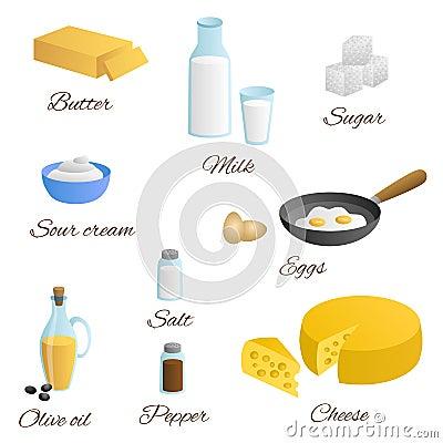 Illustrazione stabilita dello zucchero del pepe del sale della panna acida dell olio d oliva del formaggio del burro dell uovo de