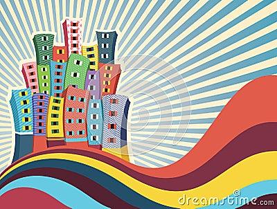 Ilustração colorida do vetor das construções