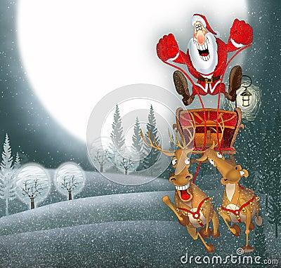 Ilustração com Papai Noel