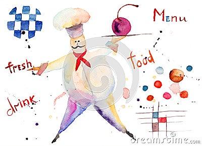 Ilustração da aguarela do cozinheiro chefe