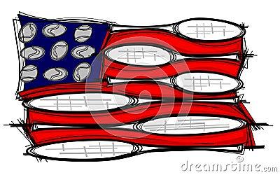 Ilustração da bandeira da raquete de tênis