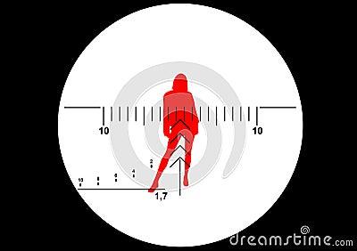 Ilustração da vista do rifle do atirador furtivo