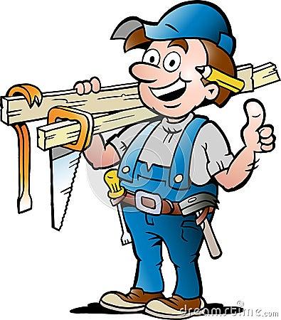 Ilustração de um trabalhador manual feliz do carpinteiro