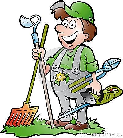Ilustração desenhado mão do vetor de um jardineiro feliz