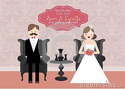 Ilustração do molde do cartão do convite do casamento