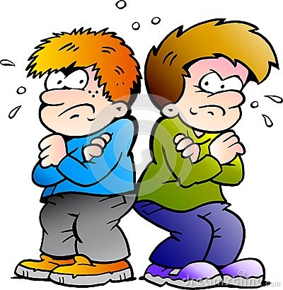 Ilustração do vetor de dois meninos dos inimigos