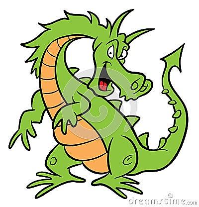 Ilustração dos desenhos animados do dragão verde