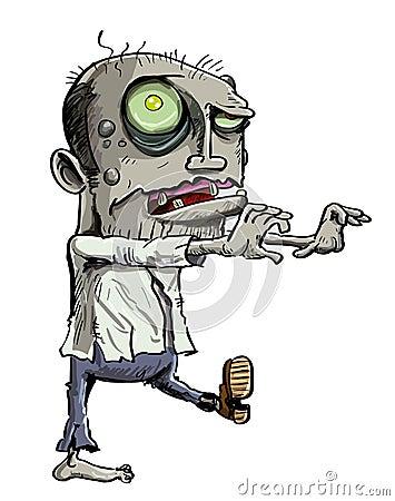 Ilustração dos desenhos animados do zombi verde