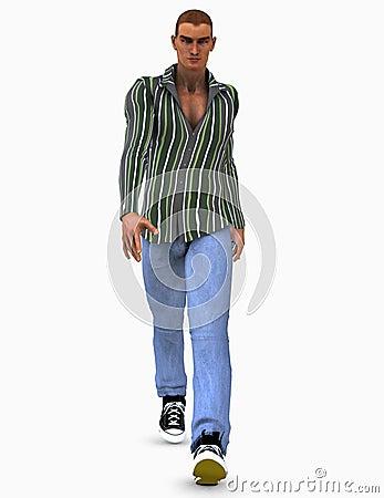 Ilustración 3d del modelo masculino