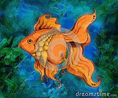 Ilustración de la natación del Goldfish