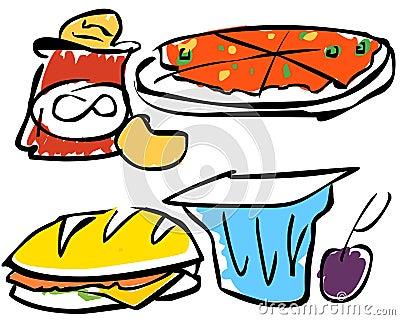 Ilustración de los alimentos de bocado