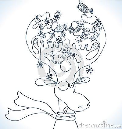 Ilustración de los ciervos de la Navidad con la bufanda