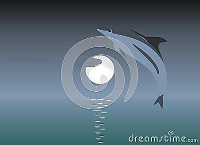 Ilustración de un delfín de salto sobre un claro de luna