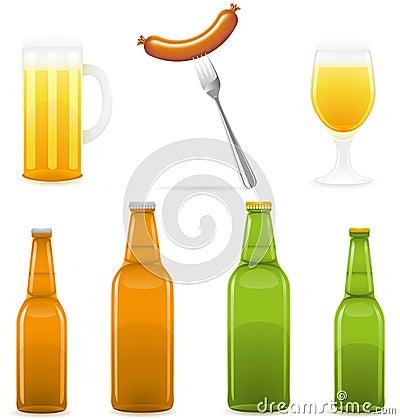 Ilustración del vector del vidrio y de la salchicha de la botella de cerveza