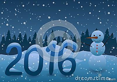 ilustracin del vector mueco de nieve del ao nuevo en el fondo de rboles de navidad