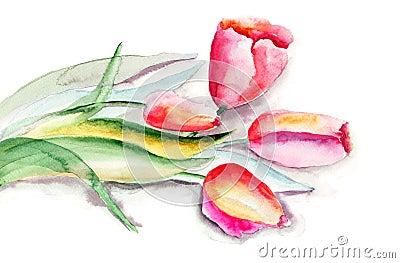 Ilustración estilizada de las flores de los tulipanes