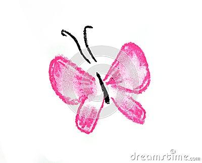 Ilustración simple de la mariposa rosada