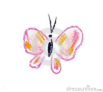 Ilustración simple de la mariposa violeta