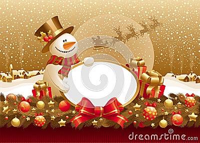 Ilustración de la Navidad con el muñeco de nieve, el regalo y el marco