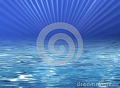 Ilustración de la playa - agua azul clara