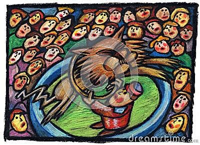 Ilustración del circo con el león