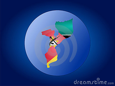 Ilustración del globo de Mozambique