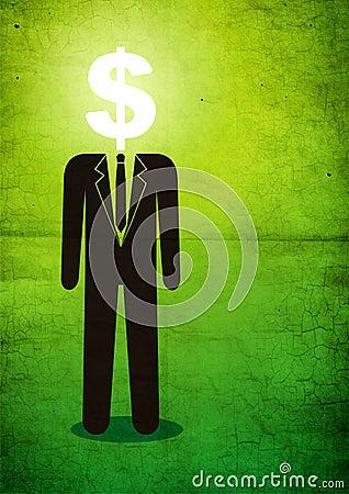 Ilustración del hombre con una muestra de dólar