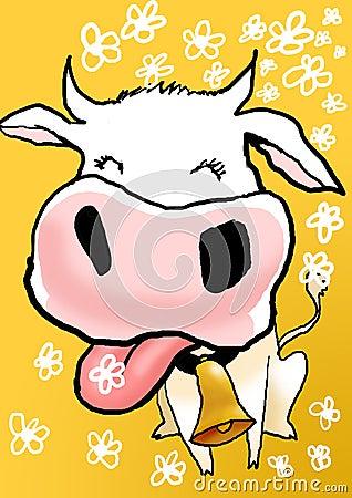 Ilustración linda de la vaca
