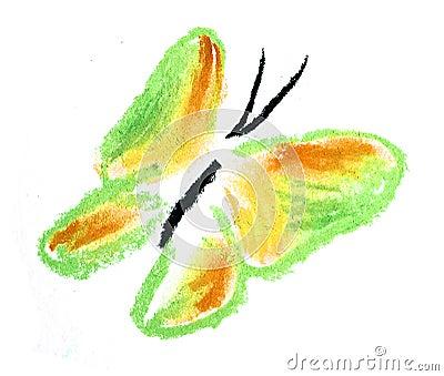 Ilustración simple de la mariposa verde y amarilla
