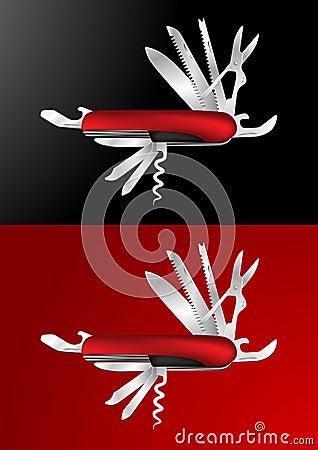 Ilustración suiza del vector del cuchillo de ejército
