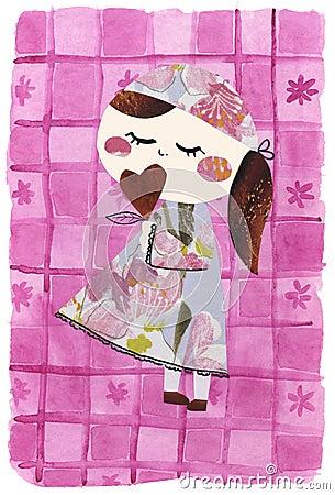 Ilustraciones de papel del muñeca-collage