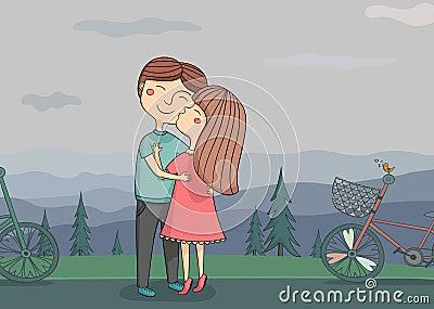 Ilustracja dziewczyny całowania chłopiec na policzku z